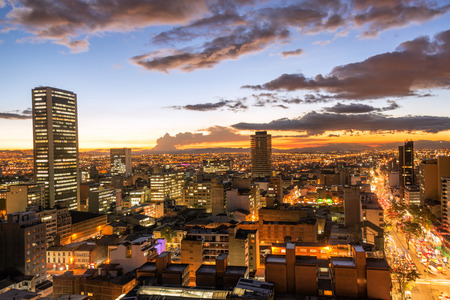 View of downtown Bogota, Colombia at dusk Stockfoto