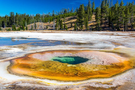 Landscape view of the Chromatic Pool in the Upper Geyser Basin in Yellowstone National Park Stock Photo