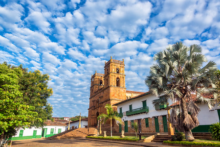 santander: Beautiful sandstone cathedral in the town of Barichara, Colombia with a stunning sky