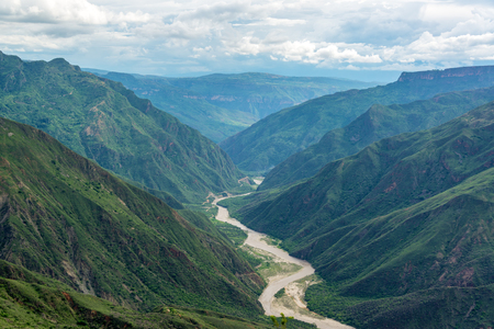Chicamocha Canyon and river with lush green foliage near Bucaramanga, Colombia