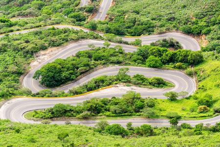 steep: Steep switchback highway in Chicamocha Canyon near Bucaramanga, Colombia