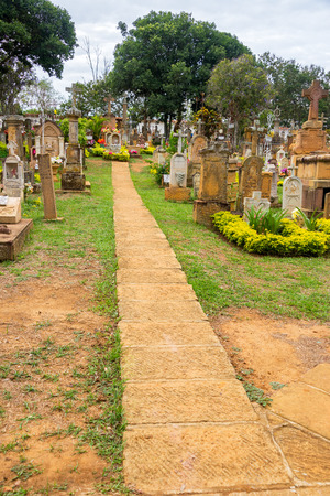 BARICHARA, COLOMBIA - MAY 13: Path running through the cemetery of Barichara, Colombia on May 13, 2016 Editorial