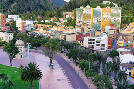 Bogota, Colombia with a view of a plaza known as Parque de los Periodistas Stock Photo