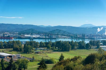 Lewis and Clark Bridge over the Columbia River connecting Rainier, Oregon and Longview, Washington Stock Photo
