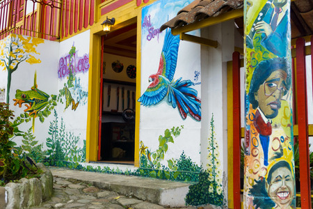 assassinated: SALENTO, COLOMBIA - JUNE 6: View of graffiti of Jaime Garzon in Salento, Colombia on June 6, 2016.  Jaime Garzon was a Colombian journalist who was assassinated