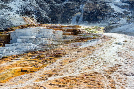 View of the Minerva Terrace at Mammoth Hot Springs in Yellowstone National Park Stok Fotoğraf - 66350293