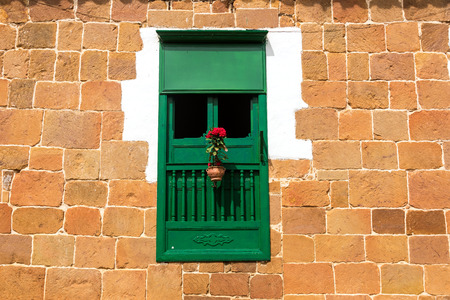 colonial building: Green window in an old colonial building in Barichara, Colombia