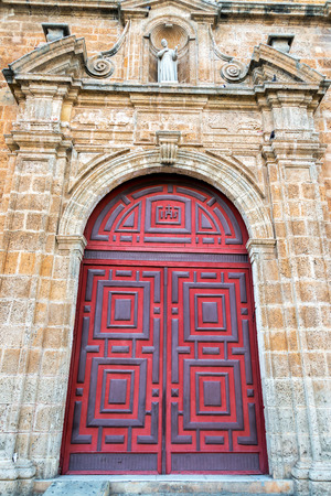 Entrance to San Pedro Claver church in Cartagena, Colombia
