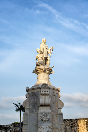 Statue of Christopher Columbus in Cartagena, Colombia Stock Photo