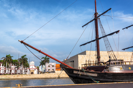 CARTAGENA, COLOMBIA - MAY 22: Wooden galleon named the Buccaneer in Cartagena, Colombia on May 22, 2016 Editorial