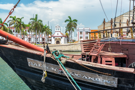 cartagena: CARTAGENA, COLOMBIA - MAY 23: Pirate themed ship in Cartagena, Colombia on May 23, 2016
