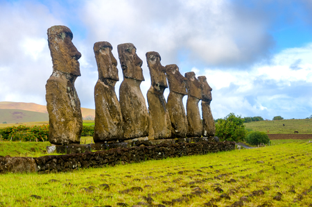 Seven Moai statues watching over Easter Island, Chile