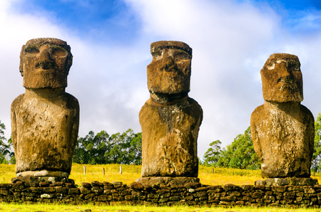 Three Moai statues on Easter Island, Chile