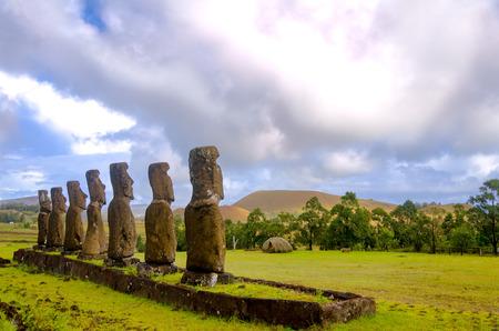 moai: Beautiful Moai statues overlooking Easter Island, Chile