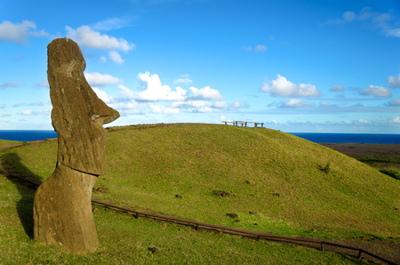Moai on Easter Island, Chile looking towards the sea Stock Photo