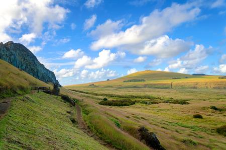 rano raraku: Landscape of Easter Island, Chile at Rano Raraku Stock Photo