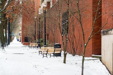oregon  snow: Sidewalk covered in snow in winter in Portland, Oregon Stock Photo