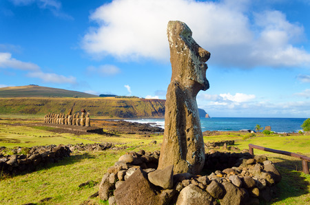 Moai statues on Easter Island at Ahu Tongariki in Chile Stock Photo