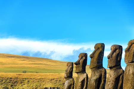 moai: Row of Moai on Easter Island, Chile