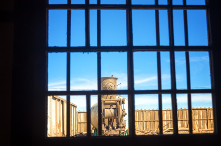 nitrate: View through a window in Humberstone, Chile