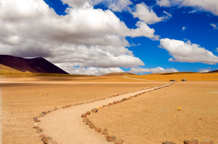 mountain landscape: Beautiful path through the Atacama desert in Chile