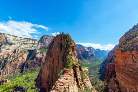 national scenic trail: View of Angels Landing in Zion National Park Stock Photo