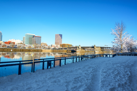 morrison: Snow covered path running through downtown Portland, Oregon Stock Photo