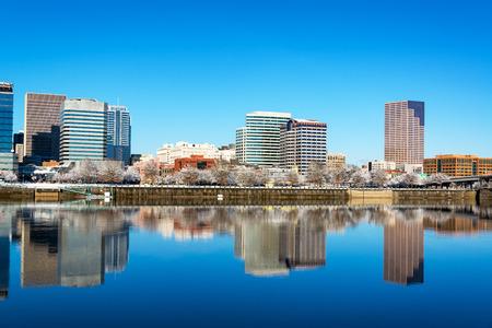 oregon  snow: Perfect reflection of downtown Portland, Oregon Stock Photo