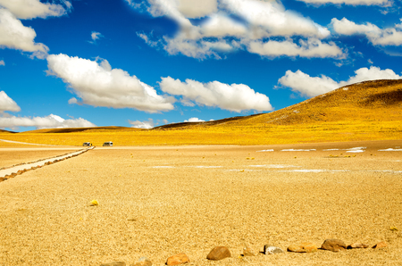 atacama: Yellow landscape near San Pedro de Atacama, Chile with a beautiful blue sky