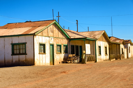 nitrate: Old abandoned houses in the ghost of Humberstone, Chile