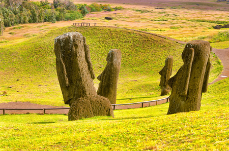 View of the iconic Moai on Easter Island in Chile