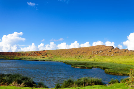 rapanui: Beautiful lake and landscape on Easter Island in Chile