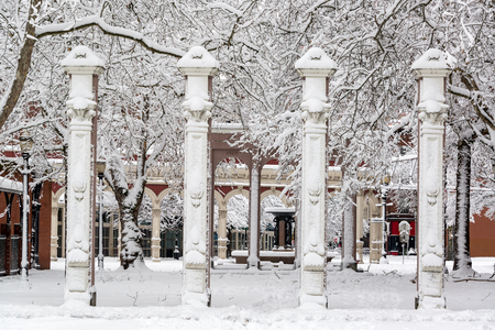 colourful sky: Ankeny Square in the old town in Portland, Oregon after a huge snowstorm