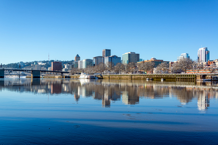 morrison: View of downtown Portland, Oregon with a beautiful reflection in the Willamette River Stock Photo