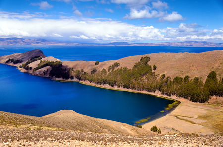 Beautiful view of the Island of the Sun on Lake Titicaca in Bolivia Stock Photo
