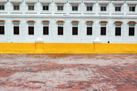 colonial building: Beautiful white colonial building in the historic center of Cartagena, Colombia Editorial