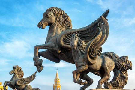 Closeup view of the Pegasus statues at Pegasus Wharf in Cartagena, Colombia