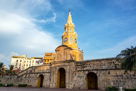 Early morning view of the Clock Tower Gate in historic Cartagena, Colombia