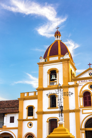 View of the Church of the Immaculate Conception in Mompox, Colombia with a beautiful blue sky
