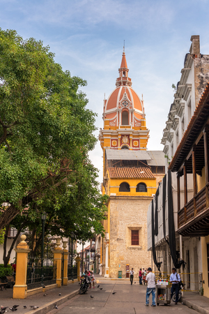 spanish home: CARTAGENA, COLOMBIA - MAY 25: Street scene in front of the cathedral in Cartagena, Colombia on May 25, 2016