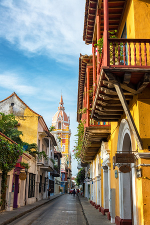 spanish architecture: CARTAGENA, COLOMBIA - MAY 25: View of a street leading toward the cathedral in Cartagena, Colombia on May 25, 2016