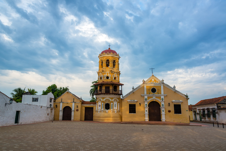 Early morning view of Santa Barbara church in Mompox, Colombia with a dramatic sky Stock Photo