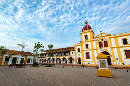 Church of the Immaculate Conception with a large plaza in Mompox, Colombia