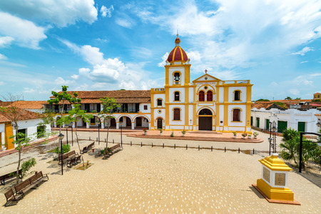 Church of the Immaculate Conception and plaza from above in Mompox, Colombia
