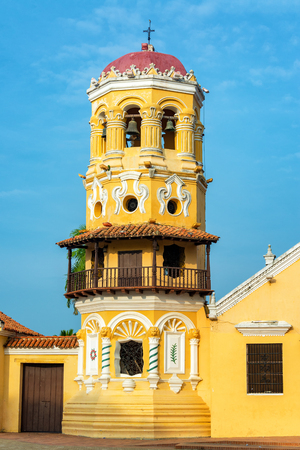 Ornate tower of colonial Santa Barbara church in Mompox, Colombia