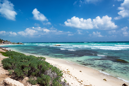 Caribbean Sea and beach in the Riviera Maya in Tulum, Mexico Stock Photo