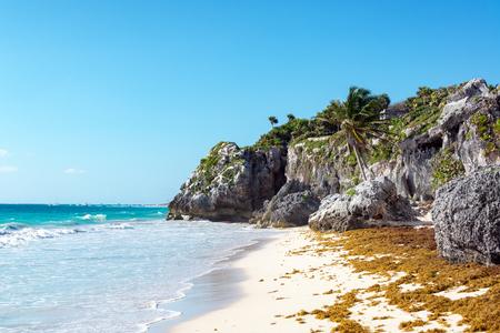Desert tropical beach at the ruins of Tulum, Mexico at the Riviera, Maya