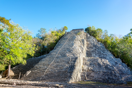 yucatan: Pyramid of the Mayan ruins of Coba, Mexico.  The name of the pyramid is Nohoch Mul Stock Photo