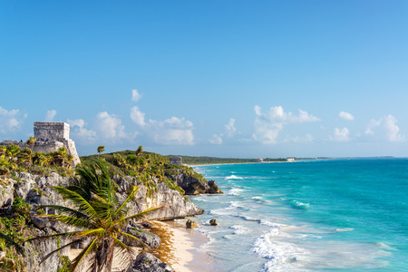 Ruins of Tulum, Mexico overlooking the Caribbean Sea in the Riviera Maya Stock Photo