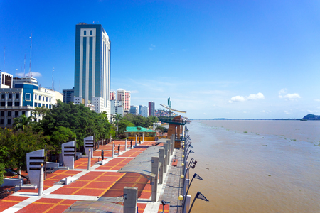 View of the waterfront, known as the malecon, in Guayaquil, Ecuador